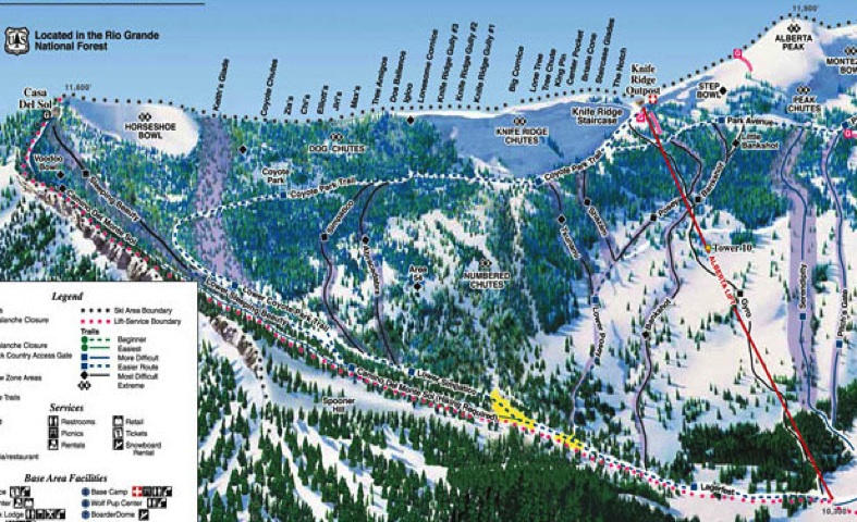 Wolf Creek Ski Map Wolf Creek Ski Area Trail Map | Colorado Ski Resort Maps